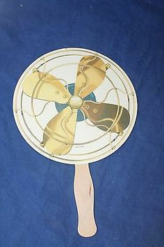 """Vintage ADVERTISING HAND FAN """"Electric Fan"""" - FREE SHIPPING"""