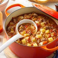 Green Chili Stew- I'm making this tonight minus the potatoes and pork and modifying seasoning.