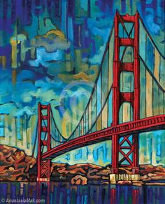 Golden Gate Bridge painting - features the landmark bridge of San Francisco. Created with acrylics on canvas, by Anastasia Mak. San Francisco Bridge, San Francisco Art, Golden Gate Bridge Painting, Puente Golden Gate, Bridge Drawing, Landscape Quilts, San Fransisco, Art Prints, Pictures