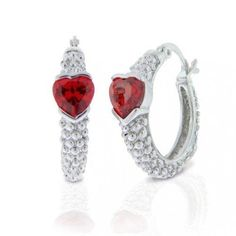 Bling Jewelry Sterling Silver Garnet Color Heart CZ Bali Hoop Earrings Bling Jewelry, Diamond Jewelry, Pandora Bracelets, Jewelry Stores, Sterling Silver Jewelry, Garnet, Heart Ring, Color Heart, Hoop Earrings
