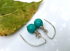 Boho turquoise & silver wire-wrapped #earrings, mom sister #gift under 25, turquoise earrings, aqua drop earrings, handmade silver jewelry ________________________  Ample (10... #womensgift #minimalist ➡️ http://etsy.me/2dQu0gH