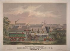 Amoskeag Manufacturing Co. Outside Passenger Engine Manchester NH(lithograph via The Boston Athenæum)