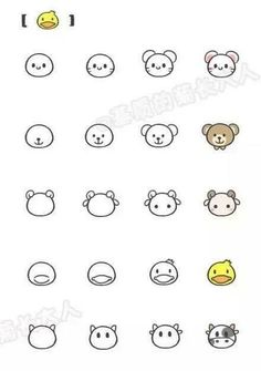 Drawing Doodles Sketches Simple drawing for kids Cute Easy Drawings, Kawaii Drawings, Doodle Drawings, Animal Drawings, Pencil Drawings, Drawing Animals, Simple Drawings For Kids, Easy Chibi Drawings, Simple Doodles Drawings