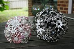 Pink and White Brooch bouquet for me