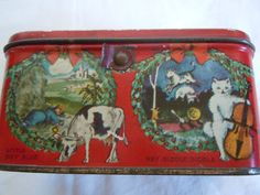 Antique Merry Christmas with Differend Images from Fairy Tales Toffee Tin | eBay