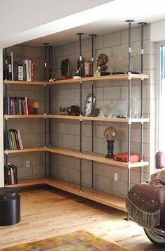industrial chic built in bookshelves | Industrial Built-in Bookcases