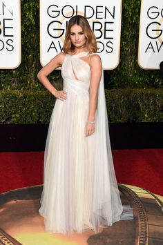 Lily James In Marchesa | All the Looks From  the 2016 Golden Globes  |  ELLE.com