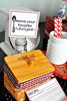 Fun detail for kitchen themed party - have each guest bring their favorite recipe to share!