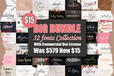 BIG BUNDLE - BEST FONT COLLECTIONS #seasonalfont #craftingfontbundle #crafterfont #crafting #scriptfont #handwritten #logotype #quotes #bundle