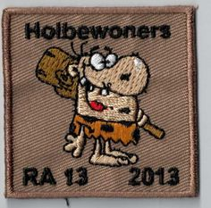 Is this caveman a Flinstone? :-)) Every youth movement should have a patch like this as a camp memory. You can simply sew or iron it on your uniform. Upload your own design on ibadge.com!