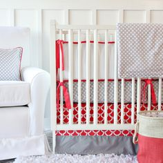 Coral Gray Crib Bedding from Caden Lane, we LOVE the color coral in the nursery - perfect for gender neutral nursery design too!