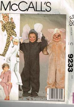 McCalls 9492 2624 Children Bunny Rabbit Mouse Bear Leopard Halloween Costume Boys Girls Sewing Pattern Child Size 4  sc 1 st  Pinterest & 90 best Children Halloween Costumes Sewing Patterns images on ...