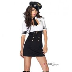 First Class Captain Womens Costume Price: $58.50  Black and white dress has a scoop neck with attached collar and tie attached belt and badge detail. Comes with the matching hat. Other items shown sold separately.  #cosplay #costumes #halloween