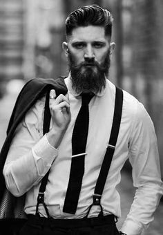 David Anthony - thick beard and mustache beards bearded man men mens' style model fashion dapper suit and tie suspenders #sharpdressedman #beardsforever