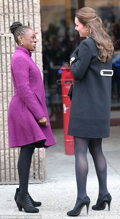 Meeting and greeting: Kate met up with Chirlane McCray, the wife of the Mayor of New York as she arrives at the Northside Center for Child Development in Harlem on day two of her trip to New York