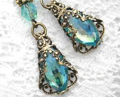 Rain Washed Earrings - Vintage Aquamarine Glass Jewels