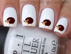 60 Hedgehog Nail Decals Nail Art Waterslide Decals by MyNailCandy, $4.89