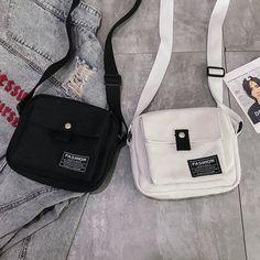 Women Canvas Hip-hop Crossbody Bag Shoulder Bag is designer, see other cute bags on NewChic Mobile. Pochette Diy, Sacs Tote Bags, Mochila Adidas, Shoulder Handbags, Shoulder Bag, Aesthetic Bags, Kawaii Bags, Sacs Design, Girls Bags