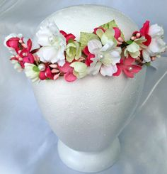 Spring pink and white floral flower girl crown by HollyHoopsArt, $70.00