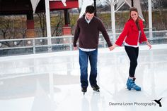 Married couple picture ideas   Christmas newlywed pictures at ice skating rink   Downtown Cuyahoga Falls, Ohio