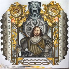 """Fuck the King""  swipe to see progress and close up shots :) #prismacolor #prisma #thehound #hound #got #gameofthrones #gameofthronescoloringbook #coloringbook #adultcoloringbook #adultcoloring #silverandgold #throne"