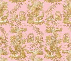 Chinoiserie Toile ~ Gilt on Dauphine fabric by peacoquettedesigns on Spoonflower - custom fabric Chinoiserie, Pattern Wallpaper, Surface Design, Custom Fabric, Spoonflower, Design Elements, Craft Projects, Quilts, Antiques