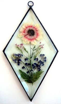 Stained Glass pressed flower bevel by PassionFlowerGlass on Etsy