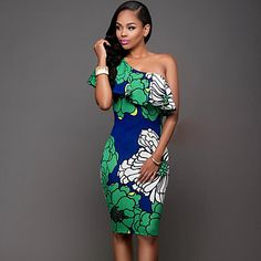 Women's+Casual/Daily+Vintage+/+Boho+Sexy+Off+Shoulder+Sheath+Dress,Floral+One+Shoulder+Knee-length+Sleeveless+–+USD+$+14.99
