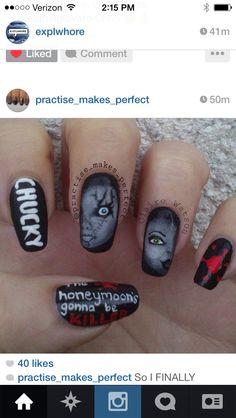 Bride of chucky nails scary nails, fun nails, halloween nail designs, halloween nails Halloween Nail Designs, Halloween Nail Art, Cool Nail Designs, Goth Nail Art, Gothic Nails, Tiffany Nails, Scary Nails, Ten Nails, Bride Of Chucky