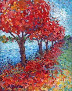 Scarlet Path~Peggy Johnson  original modern impressionistic painting #red fall leaves prints for sale on Fine Art America  #autumn joy