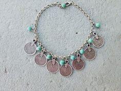 Bracelet de cheville argent turquoise ethnique bohème cheville Bohème chic