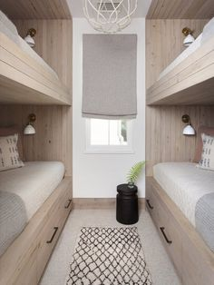 Why are built in bunks SO fun to design? I guess because the idea of nestling into a little nook at night, and designing all the ways to maxamize cozy, is SO FUN! This one designed by is a real fan fave! All about that bunk life // design via // Bunk Bed Rooms, Bunk Beds Built In, Bunk Beds With Storage, Modern Bunk Beds, Bunk Beds With Stairs, Kids Bunk Beds, Bedrooms, Bunk Beds For Adults, Bunkbeds For Small Room