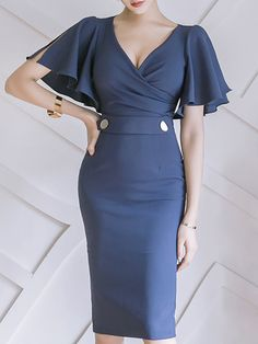 Shop Midi Dresses - Elegant Frill Sleeve Bodycon Midi Dress online. Discover unique designers fashion at StyleWe.com.