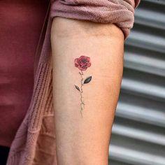 minimalist rose tattoo © Dragon ➕BANG BANG NYC