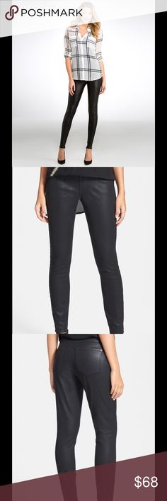 """NWT SPANX Black 'Ready To Wow Denim Shape Leggings NWT SPANX Black 'Ready To Wow' Denim Shaping $98 Leggings S / P.  Denim leggings are a new take on shapewear that's meant to be seen. The double-layer waistband flattens the tummy while the structure fabric creates an amazing fit over the thighs, legs and rear. 8 1/2"""" inseam; 9 1/2"""" leg opening; 10 3/4"""" front rise; 14"""" back rise (size Medium). Side zip closure. 81% cotton, 17% polyester, 2% spandex. Machine wash cold, tumble dry low. By…"""