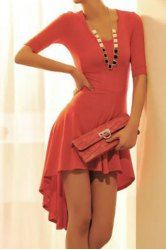 $7.94 Stylish Scoop Neck Solid Color Short Sleeves Swallowtailed Asymmetrical Dress For Women