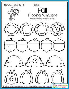 Kindergarten Math Counting Worksheets. Kids fill in the missing numbers on these fall objects. You'll find plenty more pages where this one came from. My 30 page set of November Counting Worksheets capture all the essences of fall (leaves, football, weather, voting, etc.). I think you'll like the set. Won't you take a moment to take a look at it?