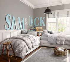 soothing color scheme for relaxing boy's bedroom...Wall color is SW 0055 Light French Gray