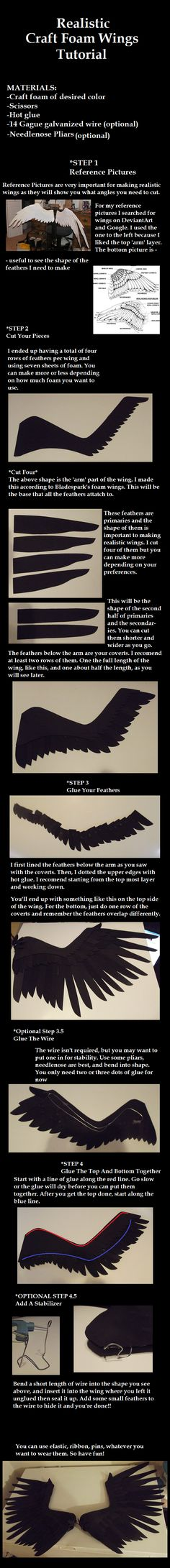 Realistic Foam Wings Tutorial by ~Zexion-the-gamer on deviantART. Good basic cosplay tutorial Realistic Foam Wings Tutorial by ~Zexion-the-gamer on deviantART. Cosplay Wings, Cosplay Diy, Cosplay Costumes, Costume Wings, Wings Tutorial, Diy Tutorial, Costume Tutorial, Cosplay Tutorial, Larp