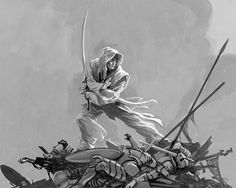 THE ASSASSIN IN WHITE by Michael Whelan, a study of Szeth for the cover of Words of Radiance (Stormlight Archive #2) by Brandon Sanderson