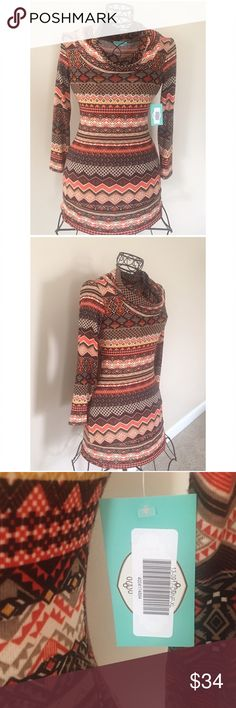 Sweater Dress / Tunic in Lovely colors! XL : What a beautiful combination of colors! Brand New With Tags. Cowl neckline. From Filly Flair. Very soft light material. Perfect with leggings and boots  Filly Flair Tops Tunics
