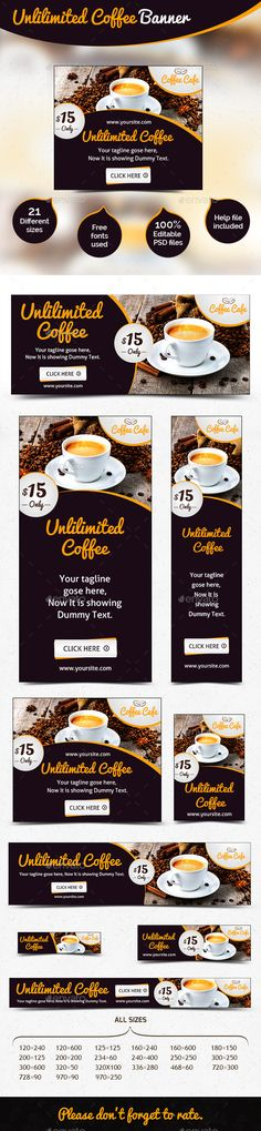 Food / Coffee Web Banner Ad Template #design Download: http://graphicriver.net/item/food-coffee-web-banner-ad/12273893?ref=ksioks