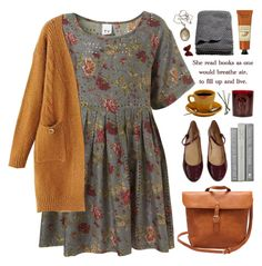 oversized floral dress by jesuisunlapin on Polyvore featuring Repetto, Crabtree & Evelyn, H&M, Diptyque, Vintage Collection, BOBBY, vintage, VintageInspired, floralprint and cardigan