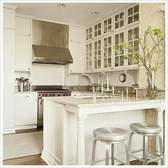 Layout for small classic kitchen with glass cabinets~ Timeless Kitchen Benches, Kitchen Redo, New Kitchen, Kitchen Remodel, Kitchen Dining, Kitchen Ideas, Kitchen Island, Kitchen Layouts, Compact Kitchen