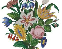 This is a unique cross stitch pattern, which was published in the 19th century and was intended for wool Berlinwork. You can stitch it either in cross stitch, or in gobelin stitch. You can also stitch it with beads for more interesting look. The reconstruction is made for DMC threads. 90 x 91 stitches 34 colours The pattern is in .pdf format and includes both black-and-white and colourful versions.  _______________________ «Victoriana patterns» is a small home-based business of the…