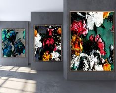 Abstract flowers 3 in set - Canvas print with floating frame - 110 x 150 cm, 90 x 120 cm Large Canvas Art, Floating Frame, Abstract Flowers, Canvas Prints, Wall, Painting, Paintings, Photo Canvas Prints, Painting Art
