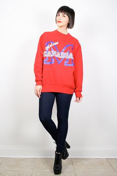 Vintage Molson Canadian Sweatshirt Red White Blue Sweater Pullover Jumper BEER Novelty T Shirt 1980s 80s Screen Print Sweatshirt L Large Xl by ShopTwitchVintage #sweatshirt #jumper #sweater #canadian #molson #beer #novelty #tshirt #vintage #etsy #80s #1980s