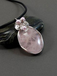 English Rose Rose Quartz  Wire Wrapped by RiverGumJewellery, $88.00