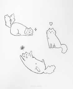 20 Easy Cat Drawing Ideas Simple Cat Drawing, Cute Cat Drawing, Cute Little Drawings, Love Drawings, Easy Drawings, Animal Drawings, Drawing Ideas, Cat Reference, Drawing Reference