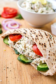 No-cook dinner recipes: Try this Lemon Chicken Salad in a pita or let it stand alone. Either way, yum. | The Cozy Apron